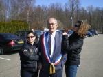 """Adriana """"Nana"""", Florence, et Jacques Curty Maire de La Veze acceuillent Nicolas Sarkozy"""